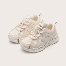 Girls Lace-up Front Mesh Panel Chunky Sneakers