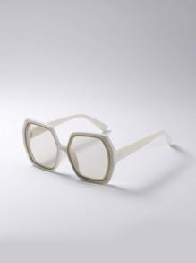 Gafas de sol de marco poligono de color combinado