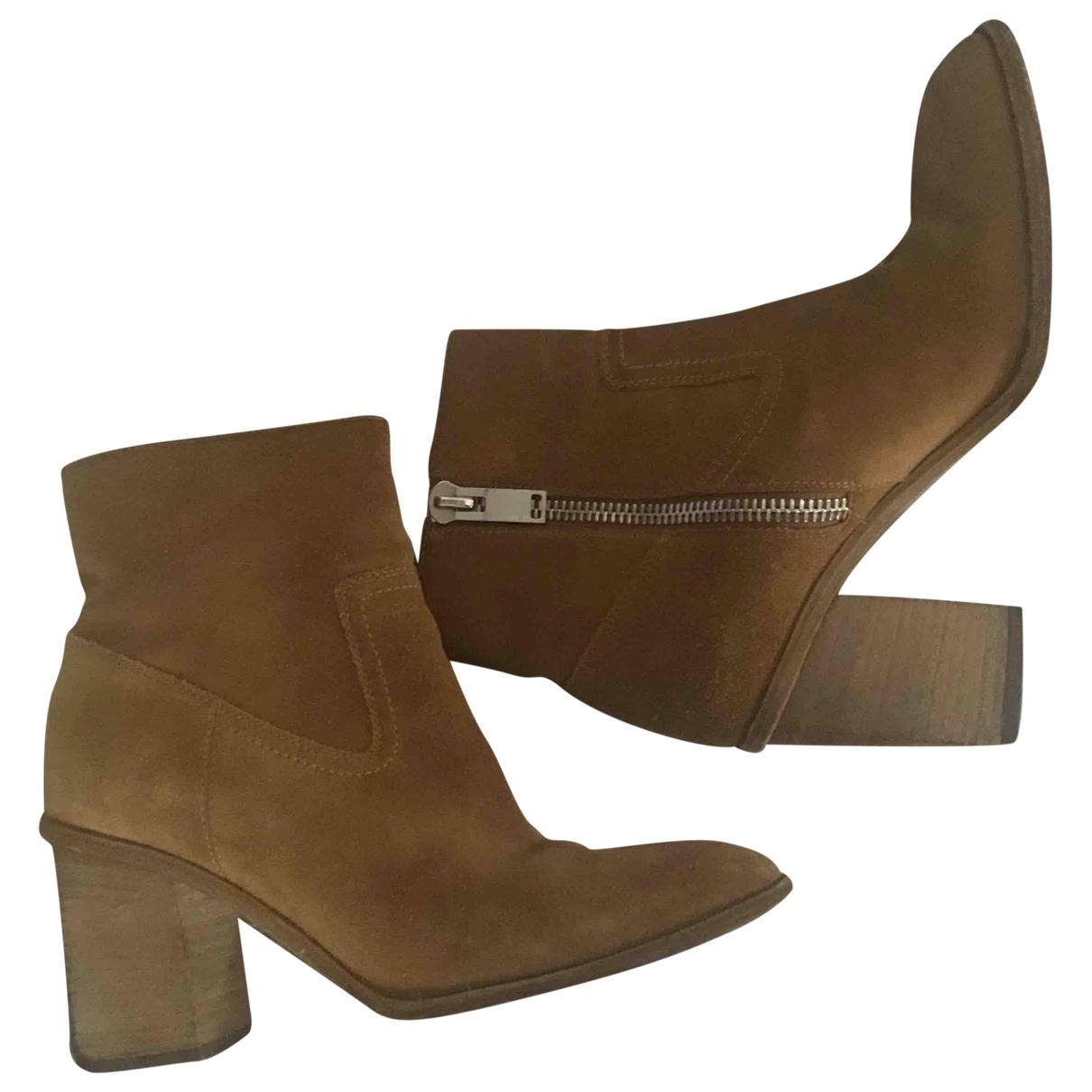 Saint Laurent - Boots   pour femme en suede - marron