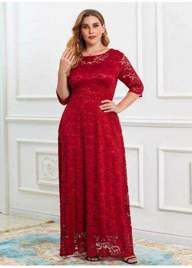 Lace V Back Plus Size Maxi Dress - 2XL