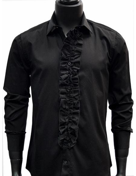 Men's classic Black Ruffled Dress 100% Cotton Trendy tuxedo shirt
