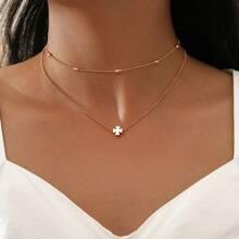 2 Stuecke Halskette mit Kleeblatt Dekor
