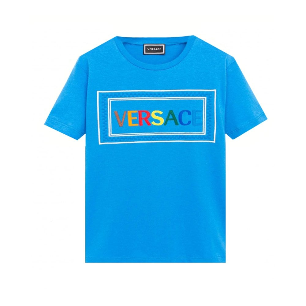 Versace Embroidered T-shirt Colour: BLUE, Size: 10 YEARS