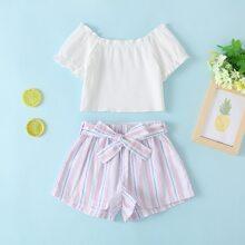 Toddler Girls Off Shoulder Rib-knit Top & Belted Shorts