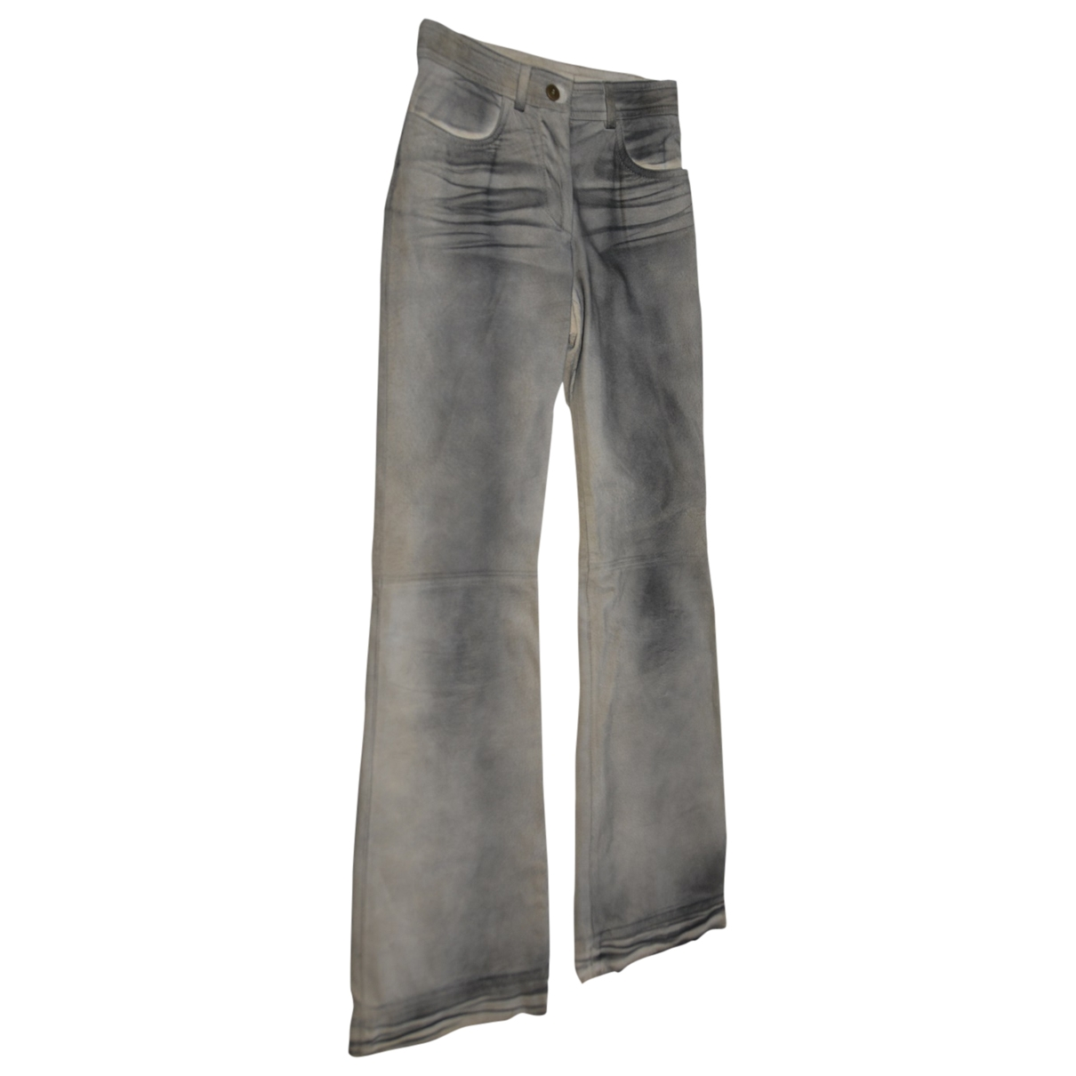 Dkny \N Grey Leather Trousers for Women 2 0-5