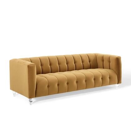 Mesmer Collection EEI-3882-COG Channel Tufted Button Performance Velvet Sofa in Cognac