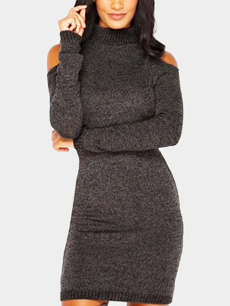 Yoins Coffee Cold Shoulder Perkins Collar Knitted Dress