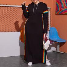 Kleid mit Kordelzug Detail, Schlitz hinten, Regenbogen Streifen und Kapuze