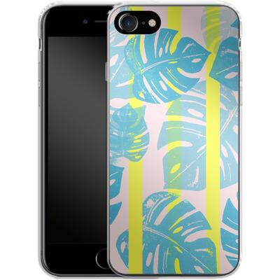 Apple iPhone 8 Silikon Handyhuelle - Linocut Monstera Neon von Bianca Green