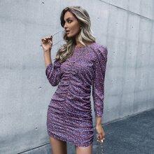 Kleid mit Bluemchen Muster, Puffaermeln und Ruesche