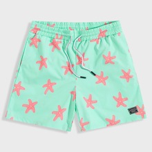 Men Patched Detail Starfish Print Shorts