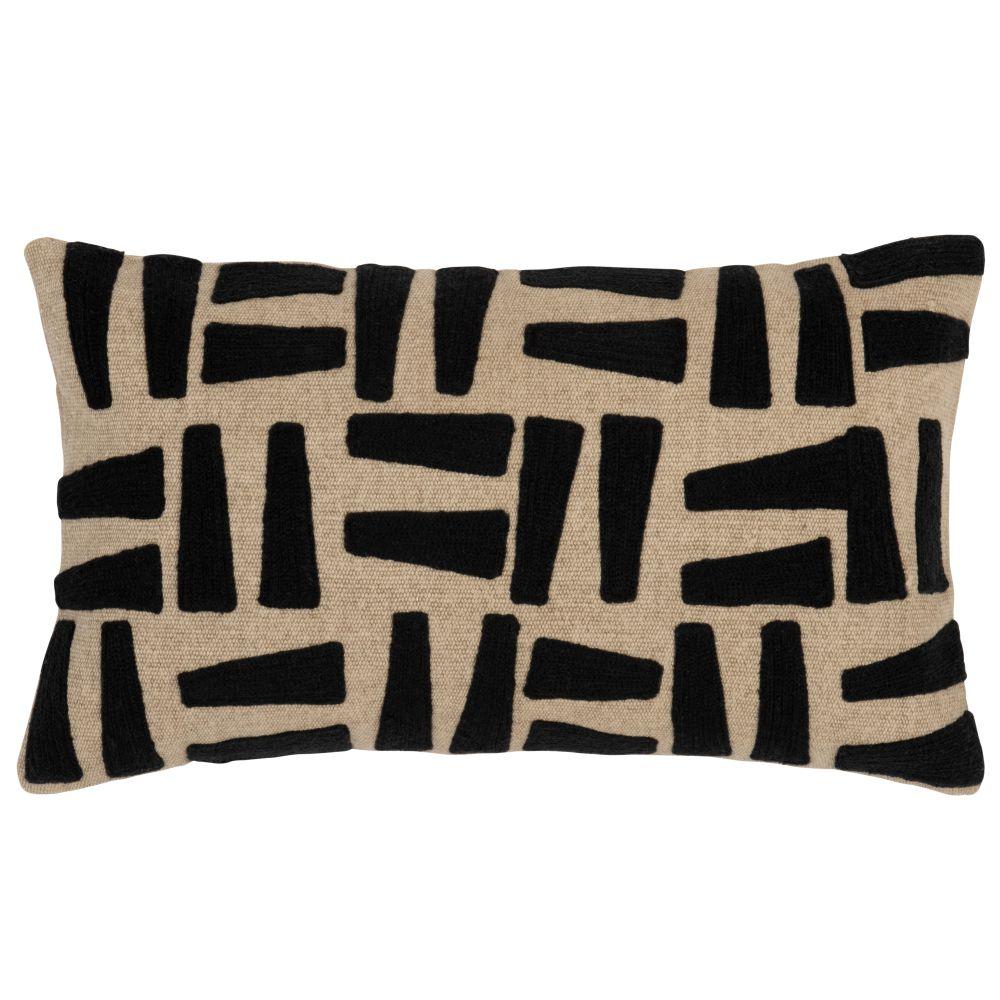 Kissenbezug aus Baumwolle, beige mit schwarzen Motiven 50x30