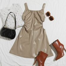 V Back Ruched Cut-out Side PU Leather Cami Dress