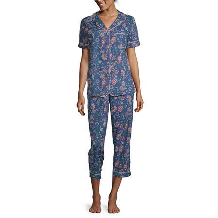 Liz Claiborne Womens 2-pc. Capri Pajama Set Short Sleeve, Small , Multiple Colors