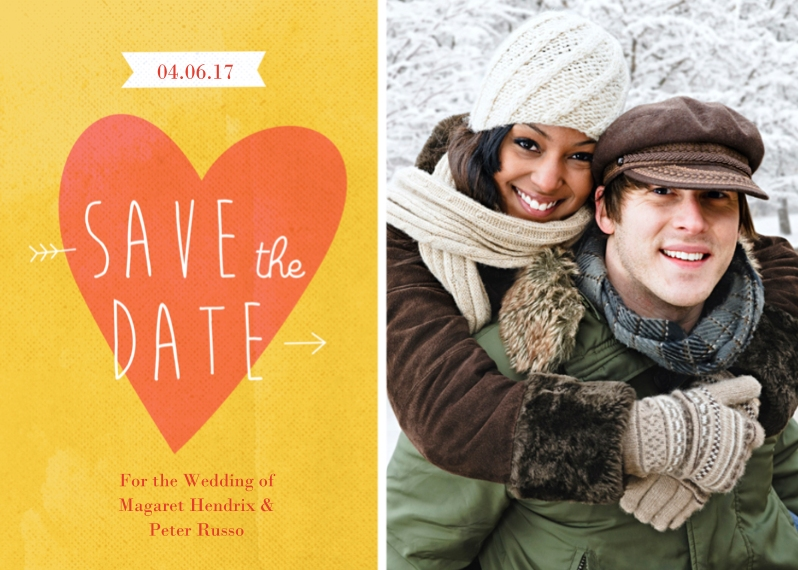 Save the Date 5x7 Folded Cards, Premium Cardstock 120lb, Card & Stationery -Save the Date Heart