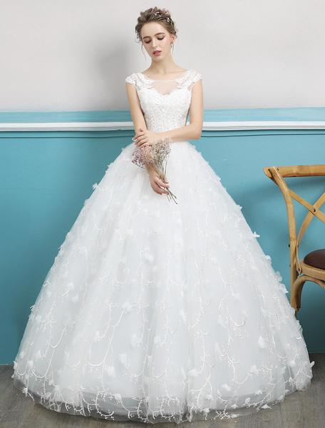 Milanoo Vestido de novia de la princesa balon vestido de novia de la gasa abalorios vestido de novia de la longitud del piso sin respaldo