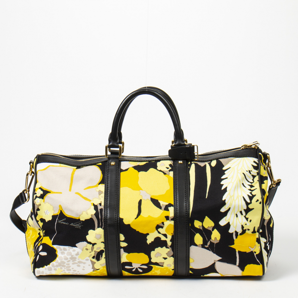 Louis Vuitton - Sac de voyage Keepall pour femme en soie - noir