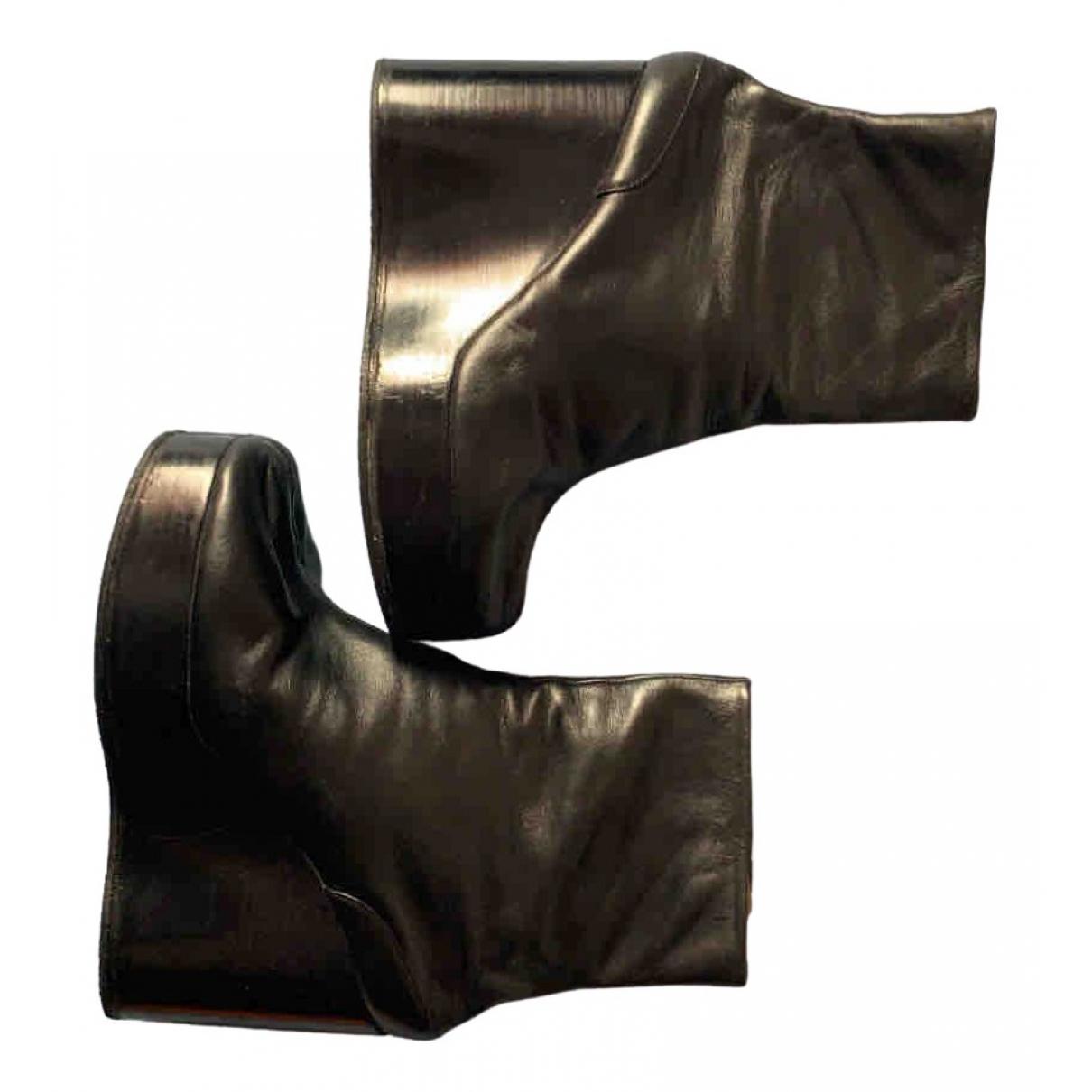 Maison Martin Margiela \N Black Leather Ankle boots for Women 41 EU