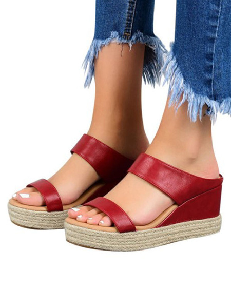 Milanoo Shoes Wedge Sandals Red PU Leather Chic Women\'s Wedge Shoes