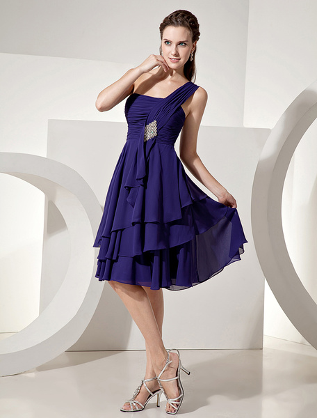 Milanoo Chiffon Bridesmaid Dress Royal Purple Knee Length One Shoulder Tiered Prom Dress