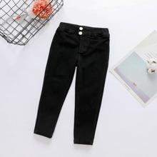 Pantalones unicolor con boton con bolsillo