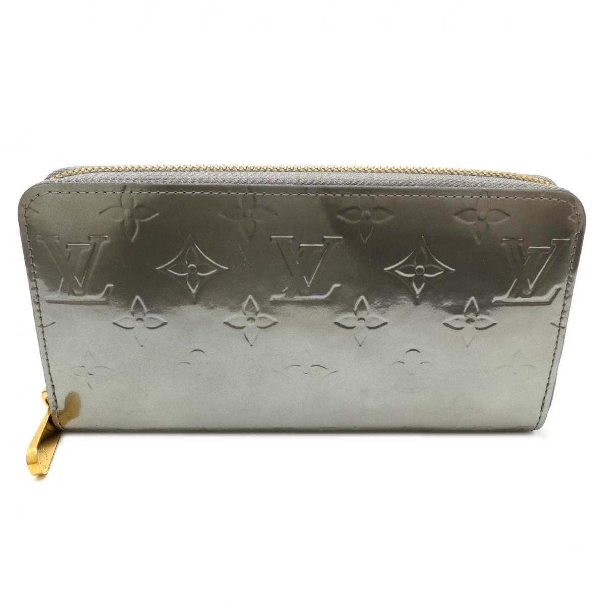 Louis Vuitton - Portefeuille Zippy pour femme en cuir verni - argente