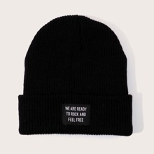 Slogan Patched Knit Beanie