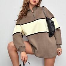 Half Zip Drop Shoulder Colorblock Sweatshirt