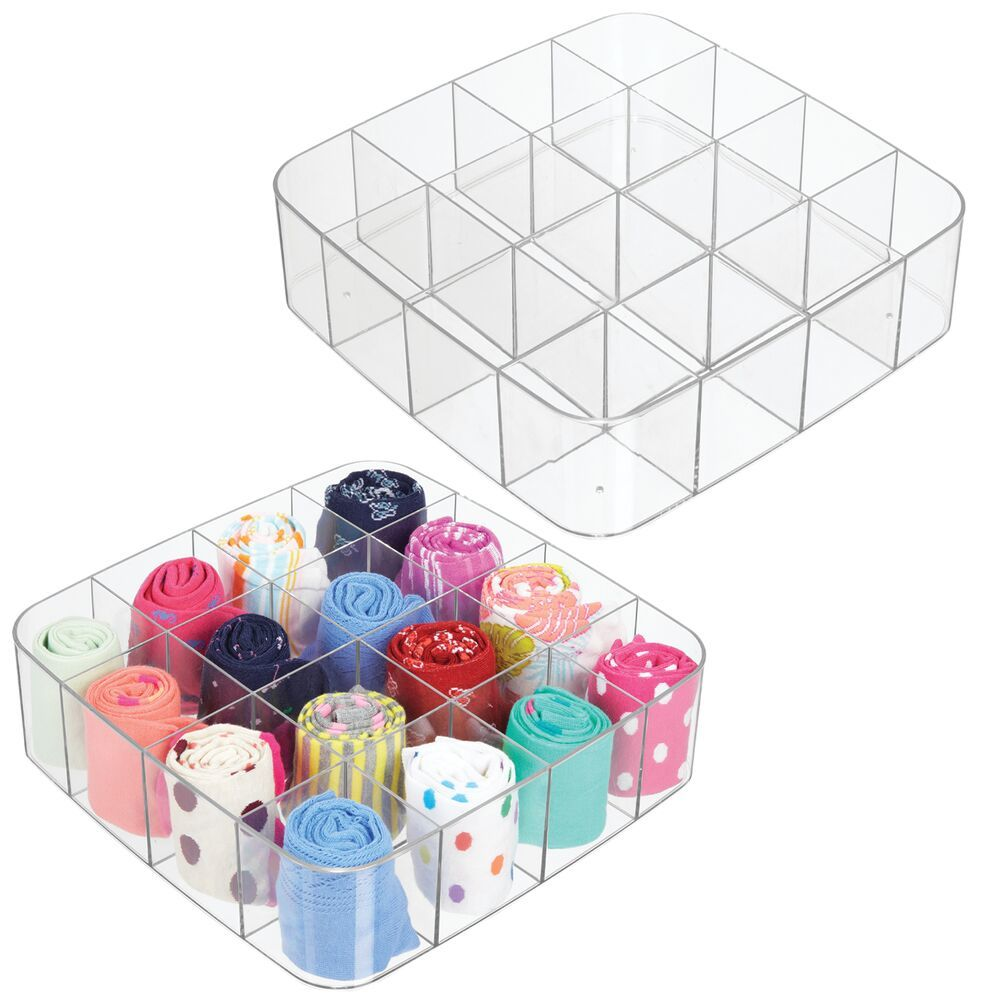 16 Compartment Plastic Drawer Organizer - Pack of 3