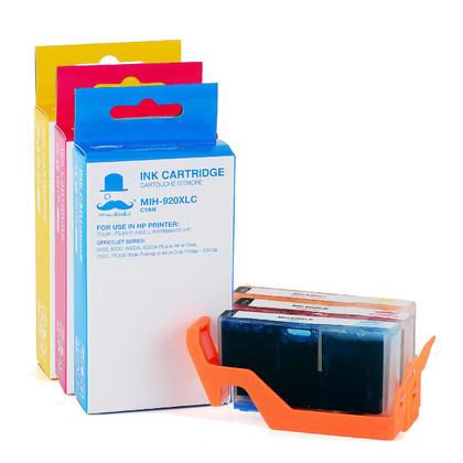 Compatible HP OfficeJet 7000 Color Ink Cartridges C/M/Y High Yield - Moustache