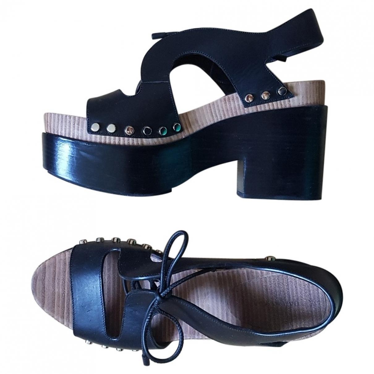 Balenciaga - Sandales Lace pour femme en cuir - noir