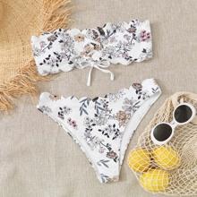 Bandeau Bikini Badeanzug mit Blumen Muster und Bogenkante