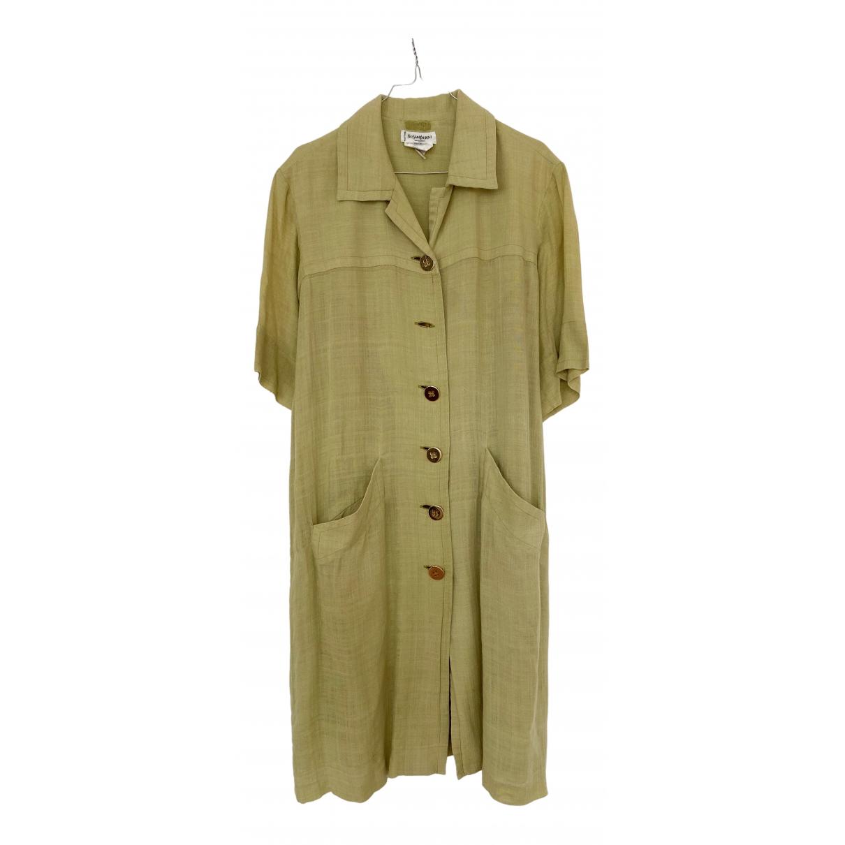 Yves Saint Laurent \N Kleid in  Gruen Seide