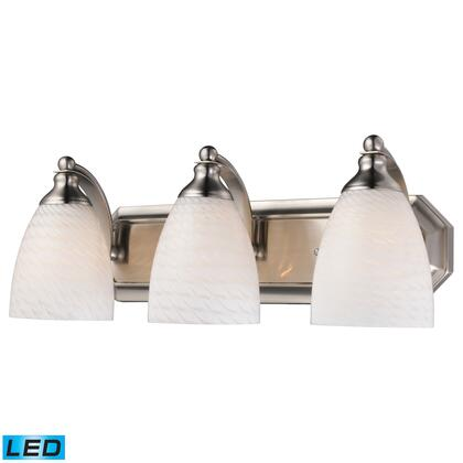 570-3N-WS-LED 3 Light Vanity in Satin Nickel and White Swirl Glass -
