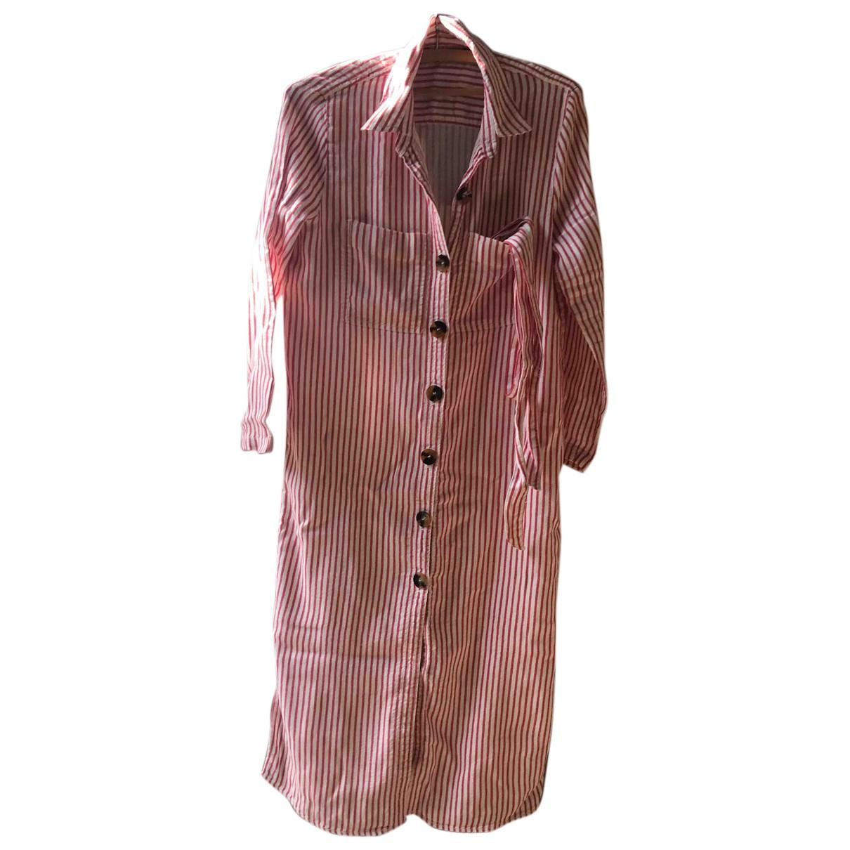 Zara - Robe   pour femme en coton - rouge