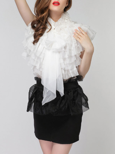 Milanoo Shirt For Women Apricot Layered Ruffles Stand Collar Retro Sleeveless Organza Tops