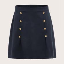 Plus Double Button Straight Skirt