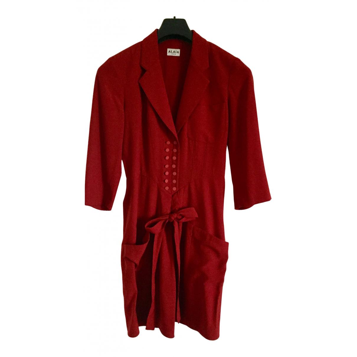 Alaia \N Kleid in  Bordeauxrot Wolle