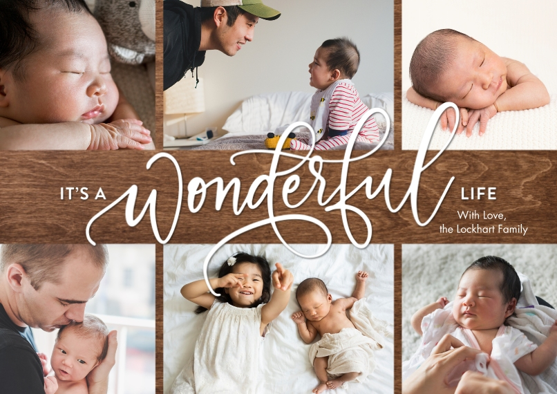 Christmas Photo Cards 5x7 Cards, Premium Cardstock 120lb with Elegant Corners, Card & Stationery -Christmas Wonderful Script by Tumbalina