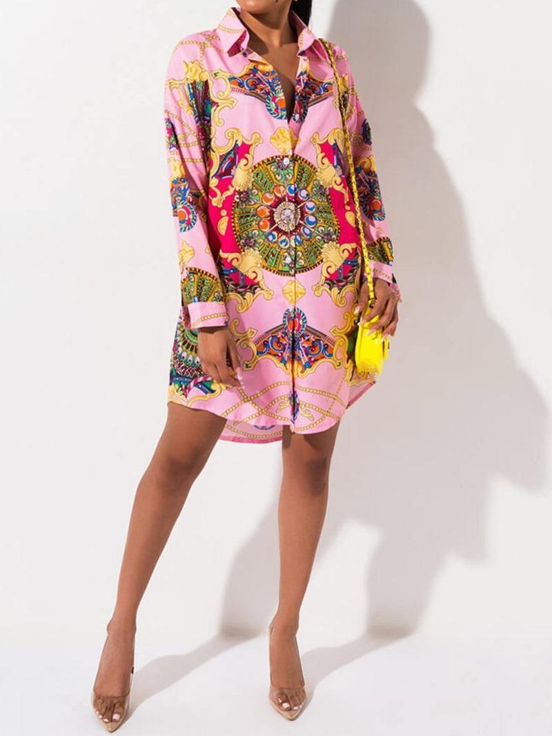 Ericdress Polo Neck Asymmetric Long Sleeve Spring Single-Breasted Dress