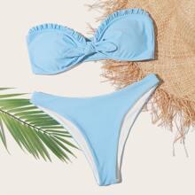 Bandeau Bikini Badeanzug mit Knoten vorn und Ruesche