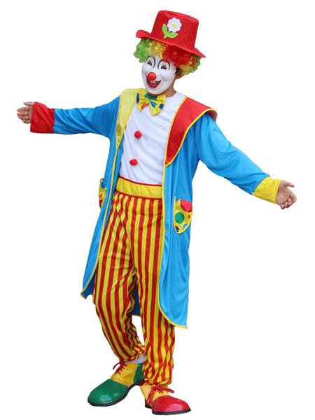 Milanoo Carnival Circus Clown Costume Light Sky Blue Unisex SashHat Set Holidays Costumes
