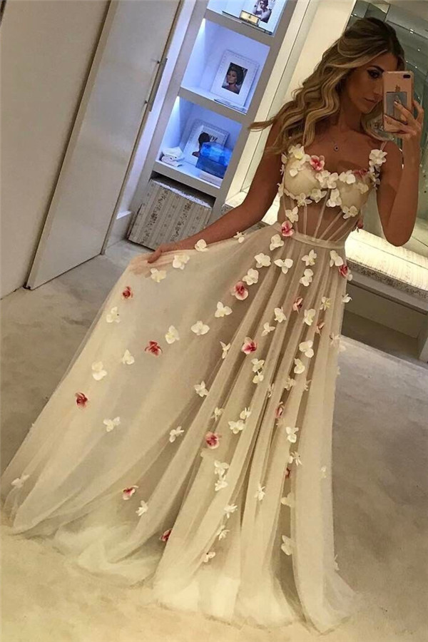 Spaghetti Straps Open Back Flowers Sexy Evening Gown Corset Illusion Tulle Prom Dress  FB0089