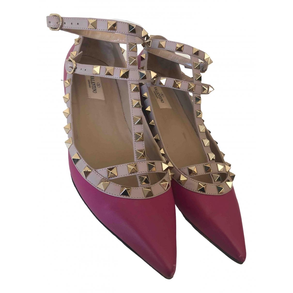 Valentino Garavani Rockstud Purple Leather Ballet flats for Women 39.5 EU