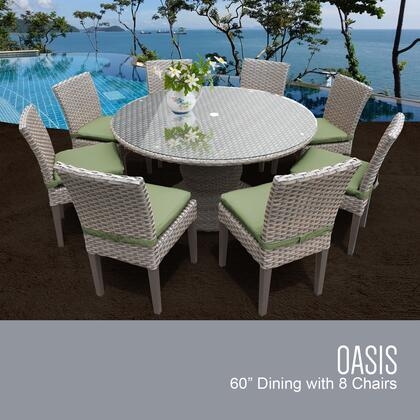Monterey Collection MONTEREY-60-KIT-8C-CILANTRO Patio Dining Set with 1 Table   8 Side Chairs - Beige and Cilantro