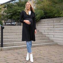 Maternity Mantel mit eingekerbtem Kragen, zweireihigen Knopfen und Guertel
