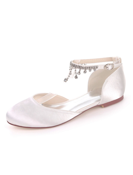 Milanoo White Wedding Shoes Satin Round Toe Rhinestones Chain Bridesmaid Shoes Flat Bridal Shoes