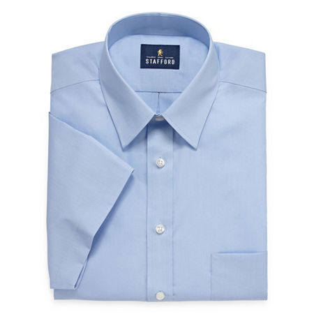 Stafford Mens Short Sleeve Travel Easy-Care Broadcloth Stretch Big and Tall Dress Shirt, 18.5 , Blue