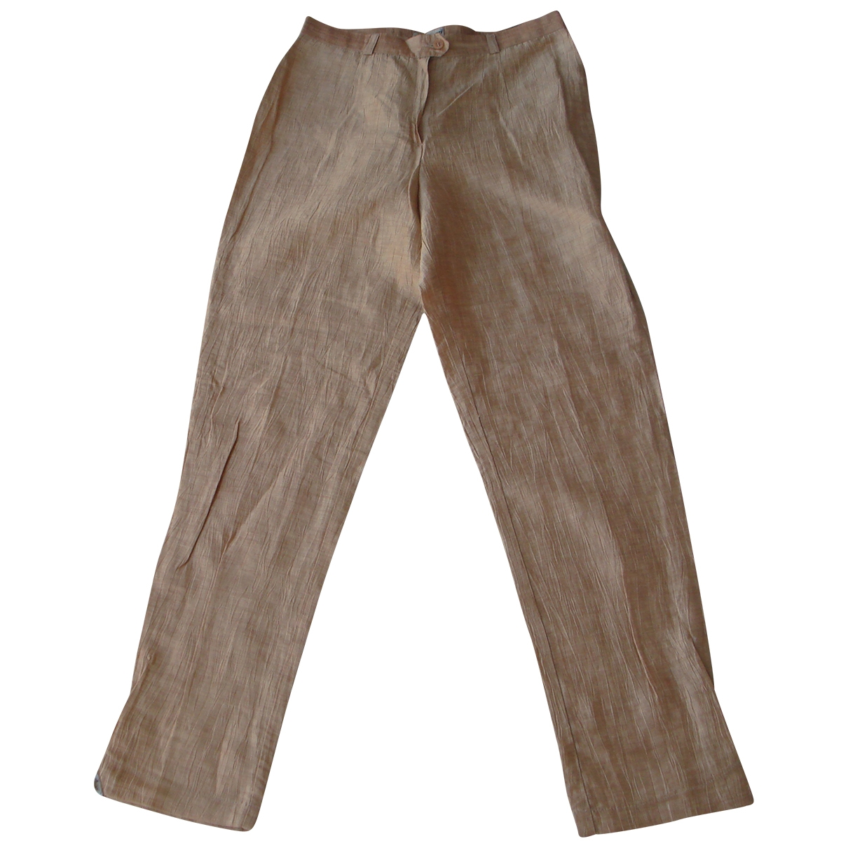 Non Signé / Unsigned \N Gold Linen Trousers for Women 40 FR