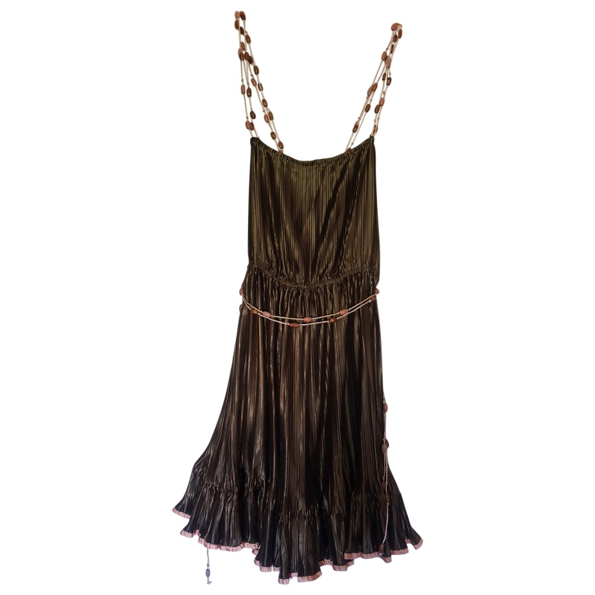 Galliano \N Khaki Silk dress for Women 36 FR